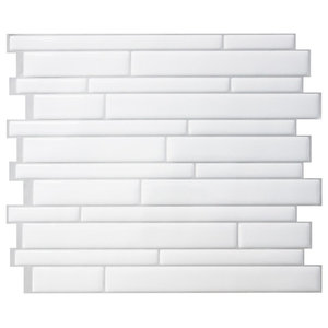 Milano Blanco Peel and Stick Wall Tiles, White, Set of 3