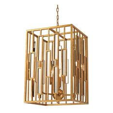 Golden Gate Pendant, Gold Leaf And Clear Mirror