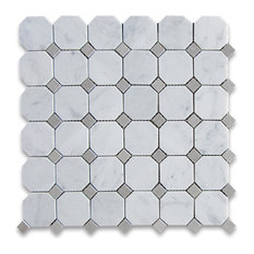 """Stone Center Online - 12""""x12"""" Carrara White Octagon Mosaic Tile With Gray Dots Honed, Chip Size: 2"""" - Wall and Floor Tile"""