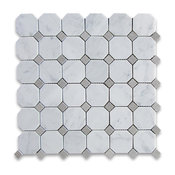 "12""x12"" Carrara White Octagon Mosaic Tile With Gray Dots Honed, Chip Size: 2"""
