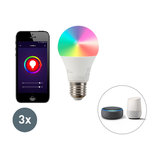 Set of 3 LED lamp A60 9W E27 Wifi Smart with app 806lm 2700-6500K dimmable