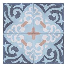 Espanola Pattern Cement Mexican Tile, Set of 13, 8x8