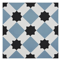 "8""x8"" Ait Baha Handmade Cement Tile, Black ,Blue, Set of 12"