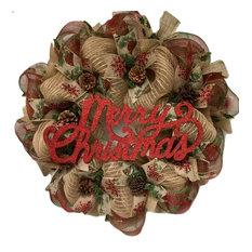 Merry Christmas Rustic Burlap Wreath With Real Pine Cones Handmade Deco Mesh