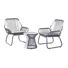 GDF Studio 3-Piece Ava Outdoor Rope and Steel Chat Set, Gray Finish and White