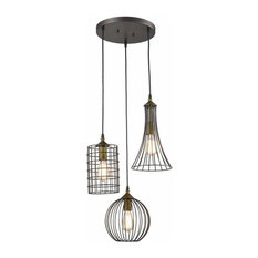 3 light wire cage rubbed bronze chandelier,industrial ceiling pendant light