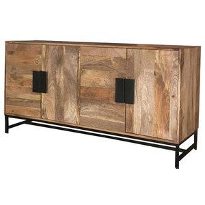 Agra 4-Door Light Mango Wood Sideboard With Iron Legs