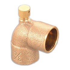 """3/4"""" Cast Lead Free Brass 90 Degree Elbow With Sweat Connects And Drain Caps"""