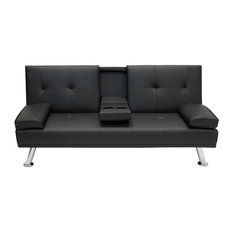 Modern Entertainment Futon Sofa Bed, Down Recliner Couch With Cup Holders