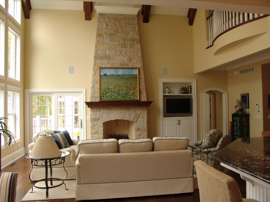 Costal Vaulted Great Room Television Install