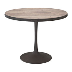 """Drive 40"""" Round Pine Wood and Iron Dining Table, Brown"""