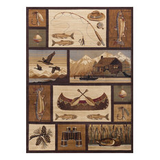 Cabin Getaway Novelty Lodge Pattern Brown Rectangle Area Rug, 8' x 10'