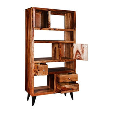 """California 68"""" Asymmetrical Bookcase Storage Rack with Drawers"""
