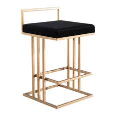 Black Velvet Counter Stool, Contemporary Modern Glam Art Deco Gold Counter Stool