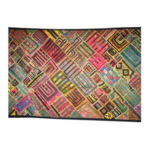 Mogul Interior - Consigned 90S Indian Kuch Wall Tapestry Patchwork Throw Home Decor - Tapestries