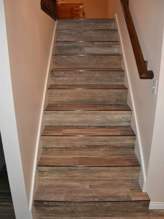 SaveEmail - Wood Tile Staircase Houzz