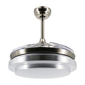 Round LED Ceiling Fan With Foldable Blades, Chrome, 42.5""