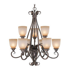Vaxcel Lighting Mont Blanc 9 Light Two Tier Chandelier w/ Frosted Glass Shades
