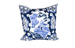 Canton in Blue Square Pillow
