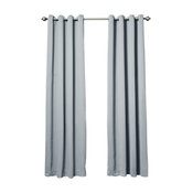 """Solid Grommet Top Thermal Insulated Blackout Curtains, Gray, 108"""""""