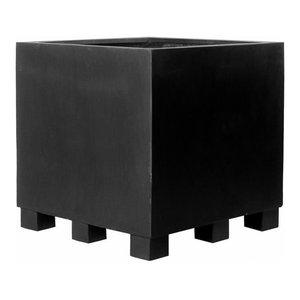 Square Fiberstone Black Planter, 100x110110 CM