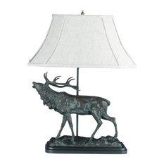 Sculpture Table Lamp Calling Elk Rustic Mountain Hand Painted OK