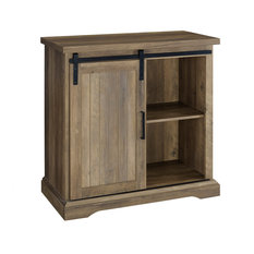"""32"""" Modern Farmhouse Grooved Door Accent TV Stand, Rustic Oak"""