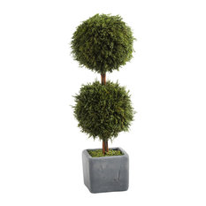 "16"" Tall ""Cypress"" Round Topiary, Green and Gray"