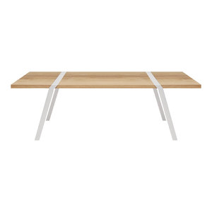 8-Seater Solid Oak Dining Table, White