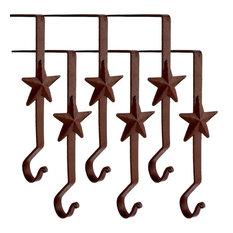 "Wrought Iron Stocking Hanger  8""-Star - Red (Set of 6)"