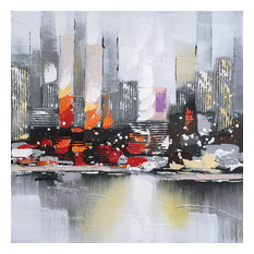 Hand Painted Abstract City View Wall Decor Artwork II