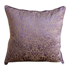 "Gold Damask Embroidered Purple Art Silk 24""x24"" Pillow Shams, Purple & Gold"