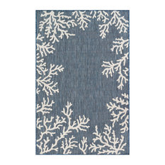 "Liora Manne Carmel Coral Border Indoor/Outdoor Rug, Navy, 7'10""x9'10"""