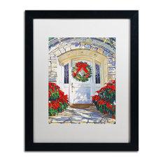 """David Lloyd Glover 'Poinsettia House' Art, Black Frame, 16""""x20"""", White Matte"""