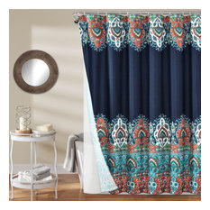 Bohemian Meadow Shower Curtain Navy with Peva Lining and Rings 14Pc Set 72X72