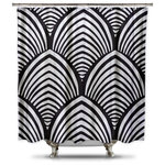 Black, White Shell Shower Curtain, Adult Coloring Book Series, Extra Long - Adult coloring books are all the rage right now. Add to your bathroom decor with this fun conversational piece.