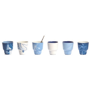 Pigments and Porcelain Espresso/Coffee Cups, Blue and White, Set of 6, Small