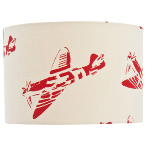 """PaperBoy Interiors """"Spitfires"""" Lampshade, White and Red, Floor or Table Fitting"""