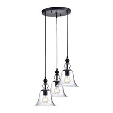 edvivi lighting 3 light clear glass multi pendant kitchen island ceiling fixture antique black