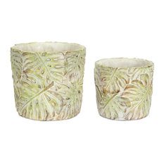 """Pot With Leaves, Set of 4, 5""""x4.75""""H, 6.75""""x6""""H Cement"""