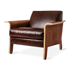 Gus Modern Lodge Chair, Chestnut Brown Leather