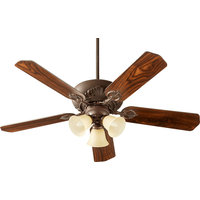Chateaux Uni-Pack Transitional Ceiling Fan, Oiled Bronze W/ Amber Scavo