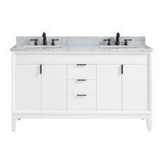 Avanity Emma 61-inch Vanity Combo White Carrara White Marble Top