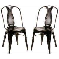 Metal Chairs Dining Chairs Industrial Metal Stackable Cafe Side Chair,Set of 2