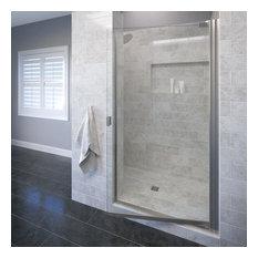 "Armon 26.625-28.125"" Semi-Frameless Pivot Shower Door, Clear, Brushed Nickel"
