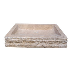 Chiseled Rectangular Natural Stone Vessel Sink, Noce Travertine