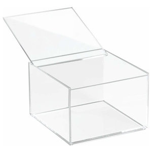 Traditional Tall Cosmetic Organizer, Clear Acrylic With Lid, Simple Design