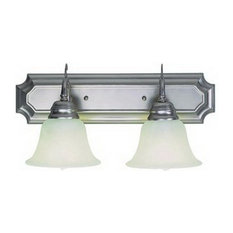 Brushed Nickel and Marbleized Glass 2-Light Fluorescent Bath Wall