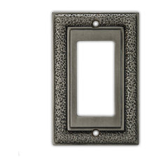 Hammered Light Switch Cover  Single Rocker/CFI, Antique Pewter