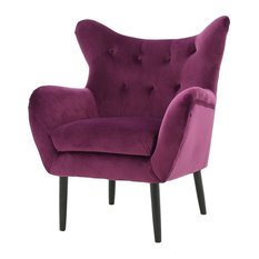 GDF Studio Kotop Light Gray New Velvet Wingback Arm Chair, Fuchsia
